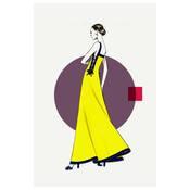 Framed Print on Rag Paper: Side Yellow Dress  Fashion Vintage Sketches 80S