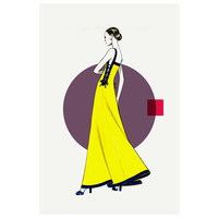 Framed Print on Rag Paper: Side Yellow Dress