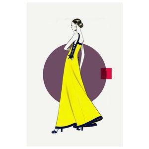 Framed Print on Rag Paper: Side Yellow Dress