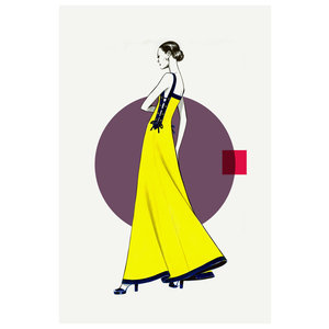 The Picturalist Framed Print on Rag Paper: Side Yellow Dress