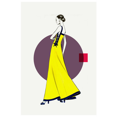 The Picturalist Framed Print on Rag Paper: Side Yellow Dress  Fashion Vintage Sketches 80S
