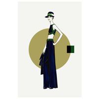 Framed Print on Rag Paper: Maxi Skirt Fashion