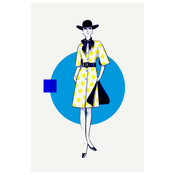 The Picturalist Framed Print on Rag Paper: Yellow Dots & Blue Dress Fashion Vintage Sketches 60S 2