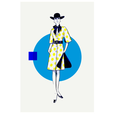 Framed Print on Rag Paper: Yellow Dots & Blue Dress Fashion Vintage Sketches 60S 2