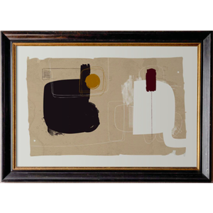 Framed Print on Rag Paper: Lexicon Dark Brown Wood & Gold Frame