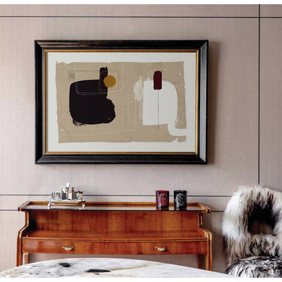 Framed Print on Rag Paper: Lexicon by Alejandro Franseschini Brown & Gold Frame
