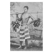 Framed Print on Rag Paper: Vintage Tahitian Fruit Vendor