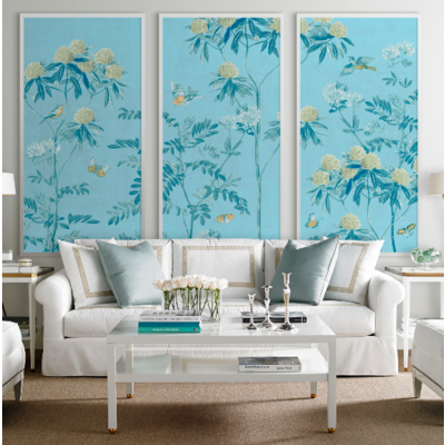 The Picturalist Framed Print on Rag Paper: Scenic Floral Triptych in Powder Blue with an off-white frame 30 x 60 each panel