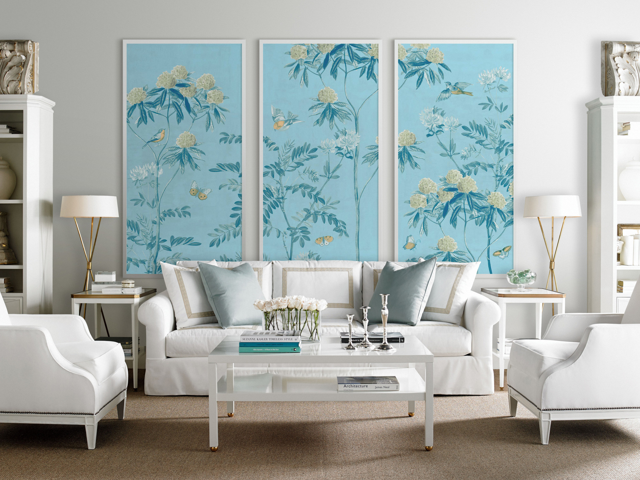 Scenic Floral Triptych