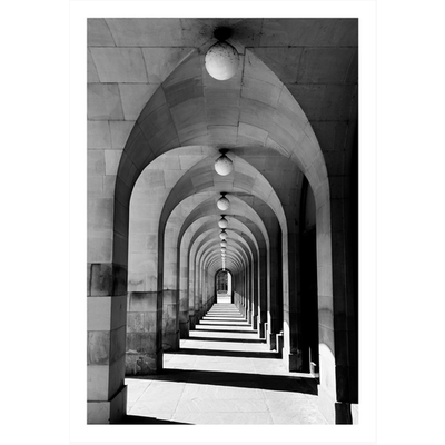 Framed Print on Rag Paper: Perspective with Arches  by M. Petropolis