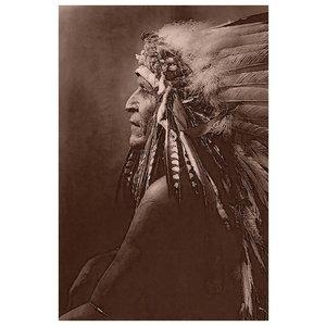 Framed Print on Rag Paper: Native American Indian 'Blackfoot Brave' with Headdress.