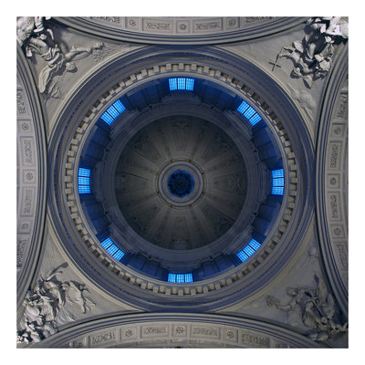 Framed Print on Rag Paper: Blue and Grey Dome