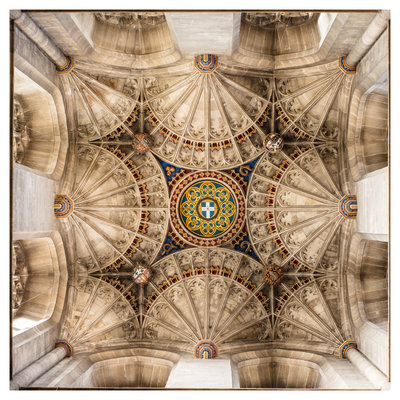 Framed Print on Rag Paper: Arched Dome at the Canterbury Cathedral in Kent, UK.