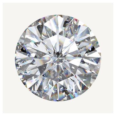 Framed Print on Rag Paper: White Round Diamond Gem