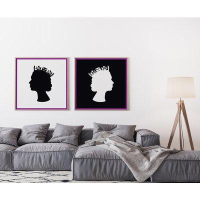 Framed Print on Rag Paper: The Queen in White on Black by Francesco Alessandrini