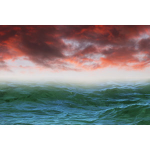 Framed Print on Rag Paper: Green Sea and Paprika Sky