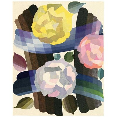 Framed Print on Rag Paper: Deco Roses in Yellow and Pink by Edouard Benedictus