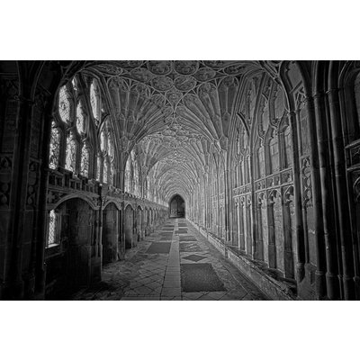 Print on Paper US250 - Gloucester Cathedral Black and White Photograph by M. Beck