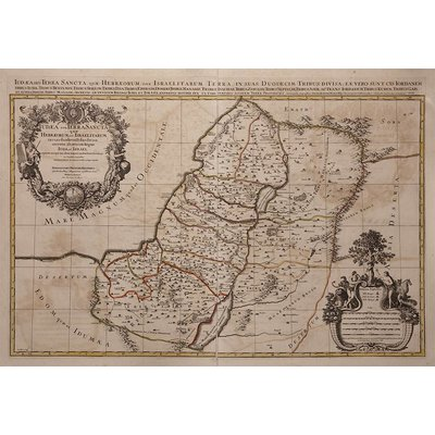 Framed Print on Rag Paper: Antique Map of Judea and the Twelve Tribes