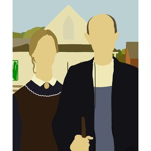 Framed Print on Rag Paper: American Gothic