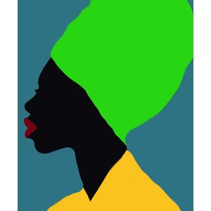 Framed Print on Rag Paper Portrait of a Black Woman