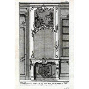 Framed Print on Rag Paper Architectural Details French Fireplace Mantel