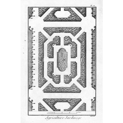 The Picturalist Framed Print on Rag Paper: Architectural Drawing Plan of French Garden 1
