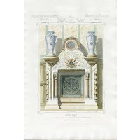 Framed Print on Rag Paper: Architectural Colored Elevation of a French Chimney Mantel