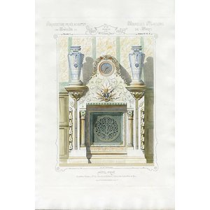 Framed Print on Rag Paper Architectural Colored Elevation of a French Chimney Mantel
