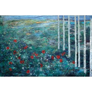 Print on Paper US250 - Birches and Poppies by Ljubica Hajduka