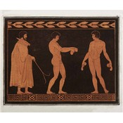 Framed Print on Rag Paper: Trainer with two Athletes From the Cabinet of Antiquities of Sir William Hamilton