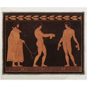 Framed Print on Rag Paper: Trainer with two Athletes