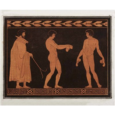 The Picturalist Framed Print on Rag Paper: Trainer with two Athletes From the Cabinet of Antiquities of Sir William Hamilton
