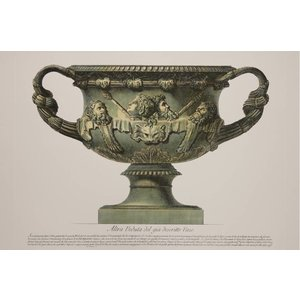Framed Print on Rag Paper: Wide Piranesi Urn with Handles in Green and Yellow