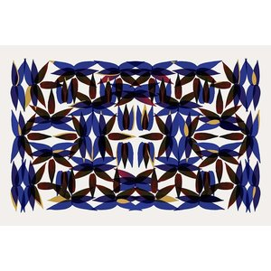 Framed Print on Rag Paper Kaleidoscope View in Blue