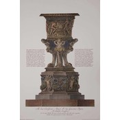 Framed Print on Rag Paper: Piranesi Urn Hand Colored and Dedicated to John Byres Scottish Architect