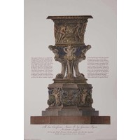 The Picturalist Framed Print on Rag Paper: Piranesi Urn Hand Colored and Dedicated to John Byres Scottish Architect