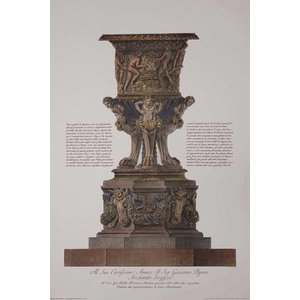 Framed Print on Rag Paper Piranesi Urn Hand Colored and Dedicated to John Byres Scottish Architect