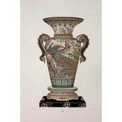 The Picturalist Framed Print on Rag Paper: Chinese Vase in Green and Pink