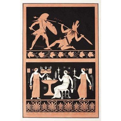 Framed Print on Rag Paper: Gladiator Combat MILLIN de Grandmaison, Painting from an Etruscan vase [Pl.XXIII]