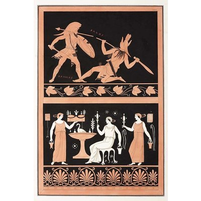 The Picturalist Framed Print on Rag Paper: Gladiator Combat MILLIN de Grandmaison, Painting from an Etruscan vase [Pl.XXIII]