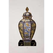 Framed Print on Rag Paper: Chinese Vase in Blue and Yellow