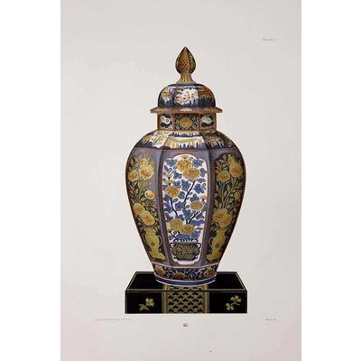 The Picturalist Framed Print on Rag Paper: Chinese Vase in Blue and Yellow