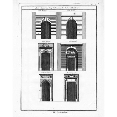 "Framed Print on Rag Paper: Architectural Details ""Portes relatives aux Cinq Ordonnances"""