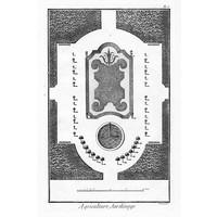 Framed Print on Rag Paper Plan of French Garden 2