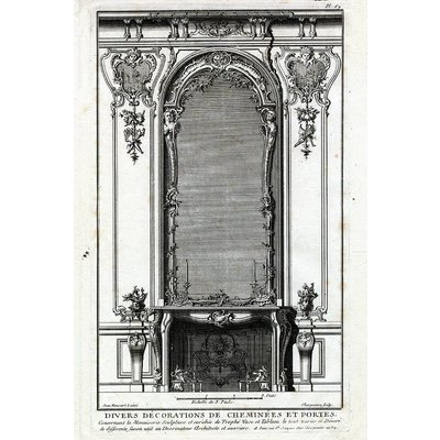 Framed Print on Rag Paper: Architectural Details French Fireplace Mantel 2