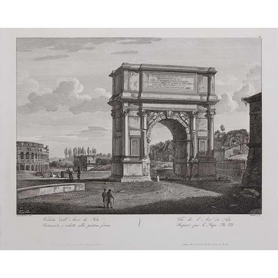 Framed Print on Rag Paper: Titus Arch in Rome prepared for the Pope Pius VII
