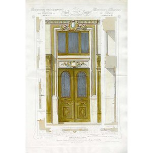 Framed Print on Rag Paper Architectural Elevation of a French 'Maison A Loyer'