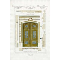 Framed Print on Rag Paper: Architectural Elevation of a French Hôtel Privé Entrance Napoleon III Style