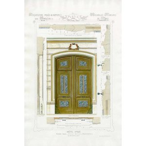 Framed Print on Rag Paper Architectural Elevation of a French Hôtel Privé Entrance Napoleon III Style